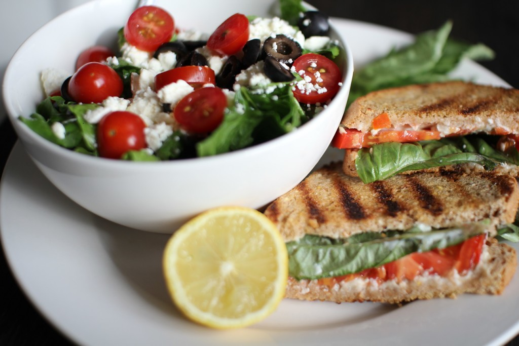 light grilled cheese and salad