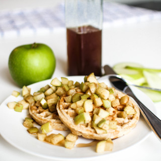 Waffles with Apples and Pumpkin Spice Syrup