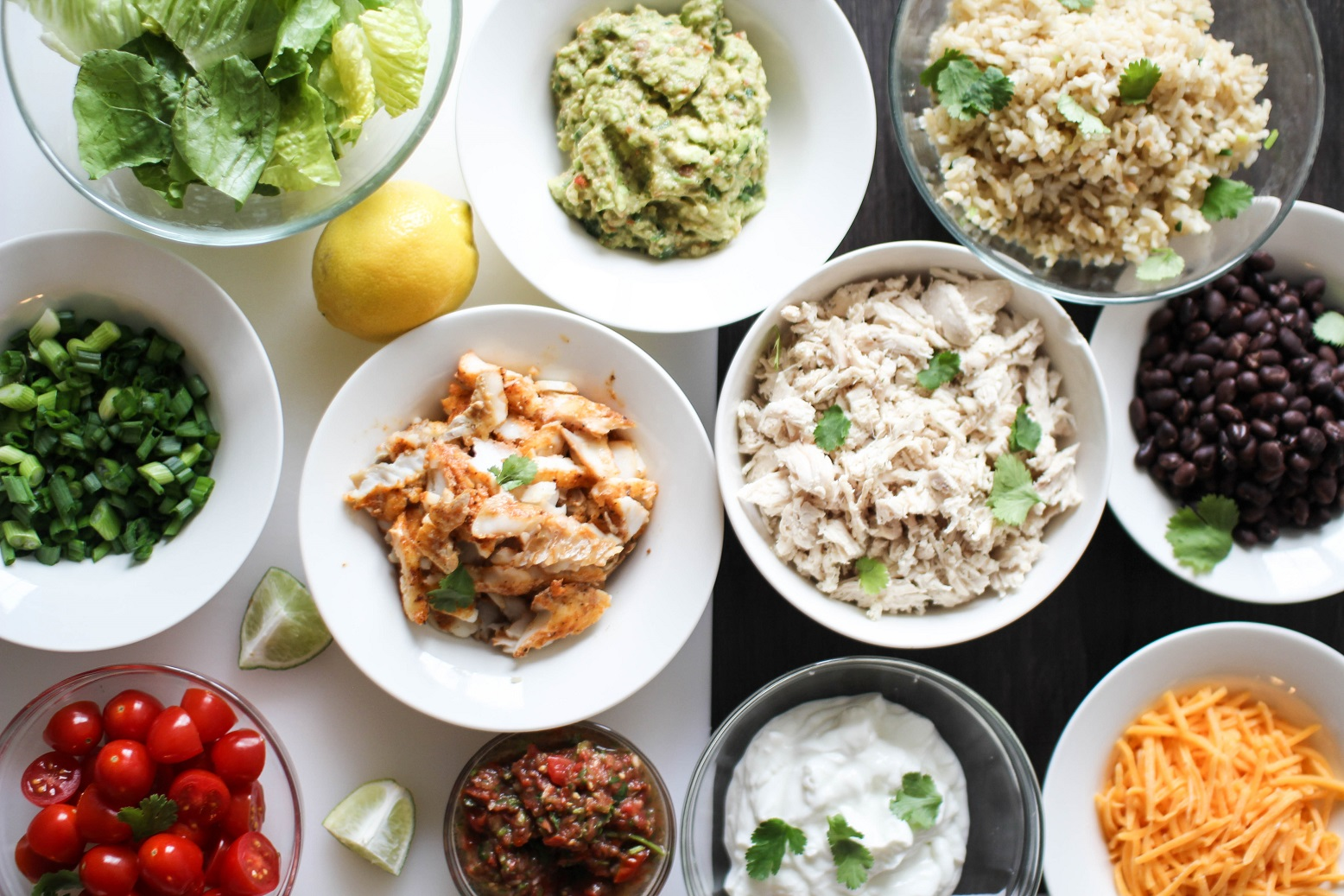 """Homemade Fish and Chicken """"Chipotle bowls"""""""