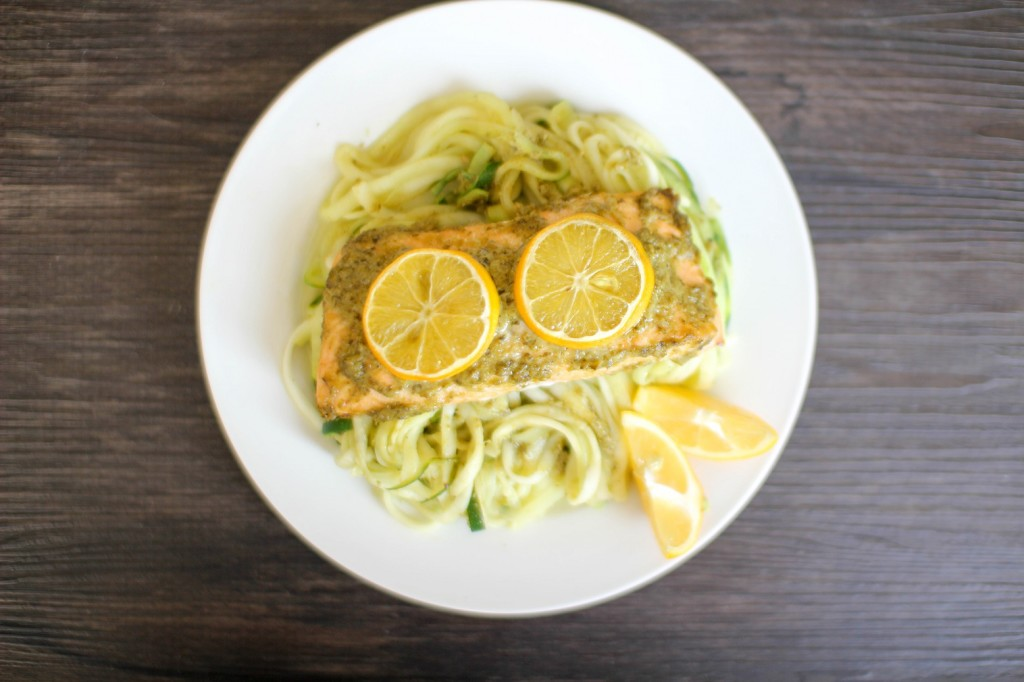 Lemon Pesto Salmon and Zoodles