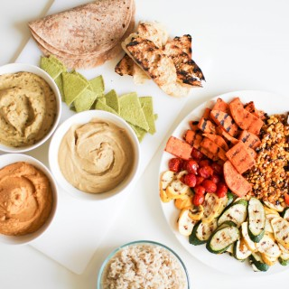Grilled Veggies and Hummus Trio