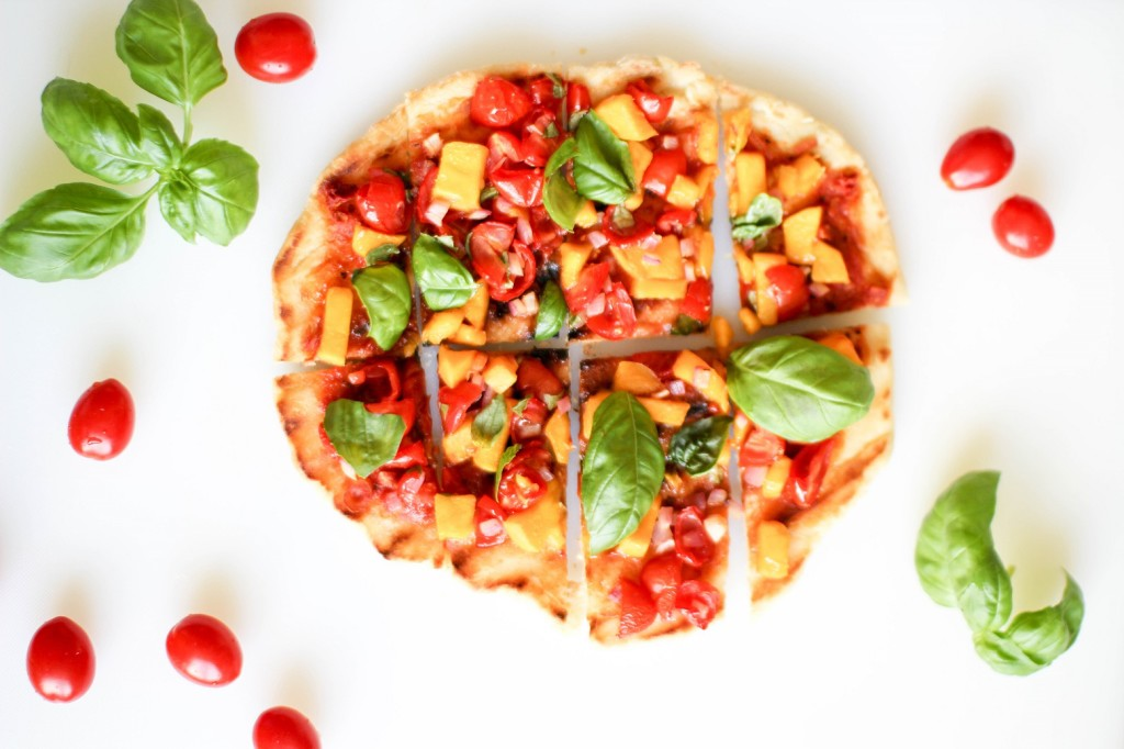 Tomato Mango Flatbread with Basil