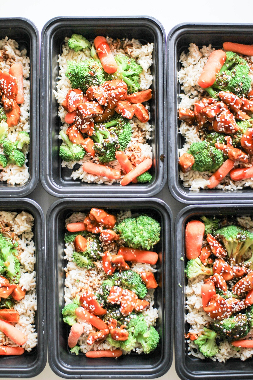 Asian style chicken, veggies, and rice meal preps- Recipe Righter