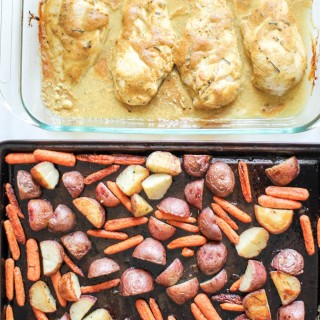 Baked Honey Mustard Chicken and Roasted Carrots and Potatoes- Recipe Righter