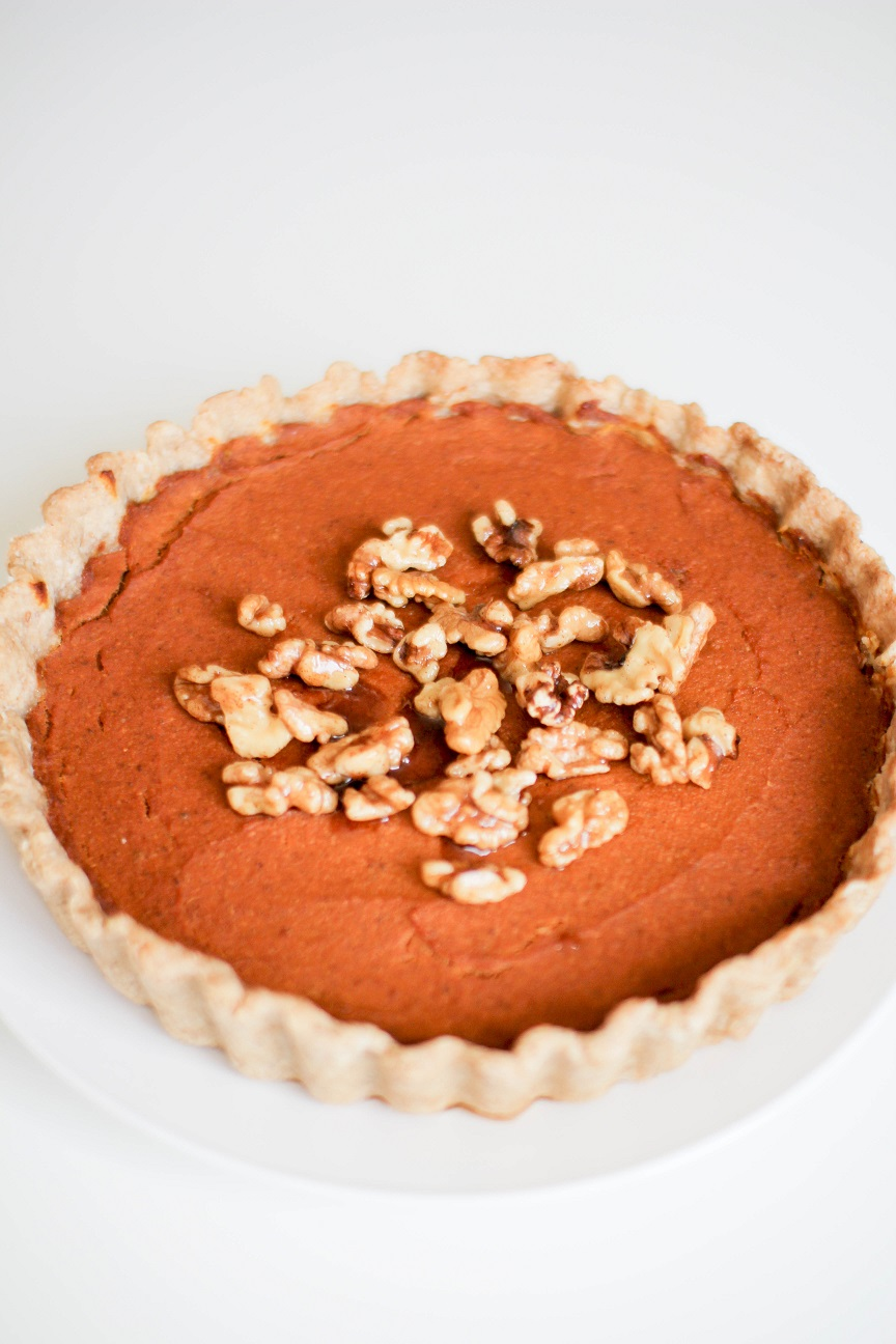 Baked Walnut Vegan Pumpkin Pie- Recipe Righter