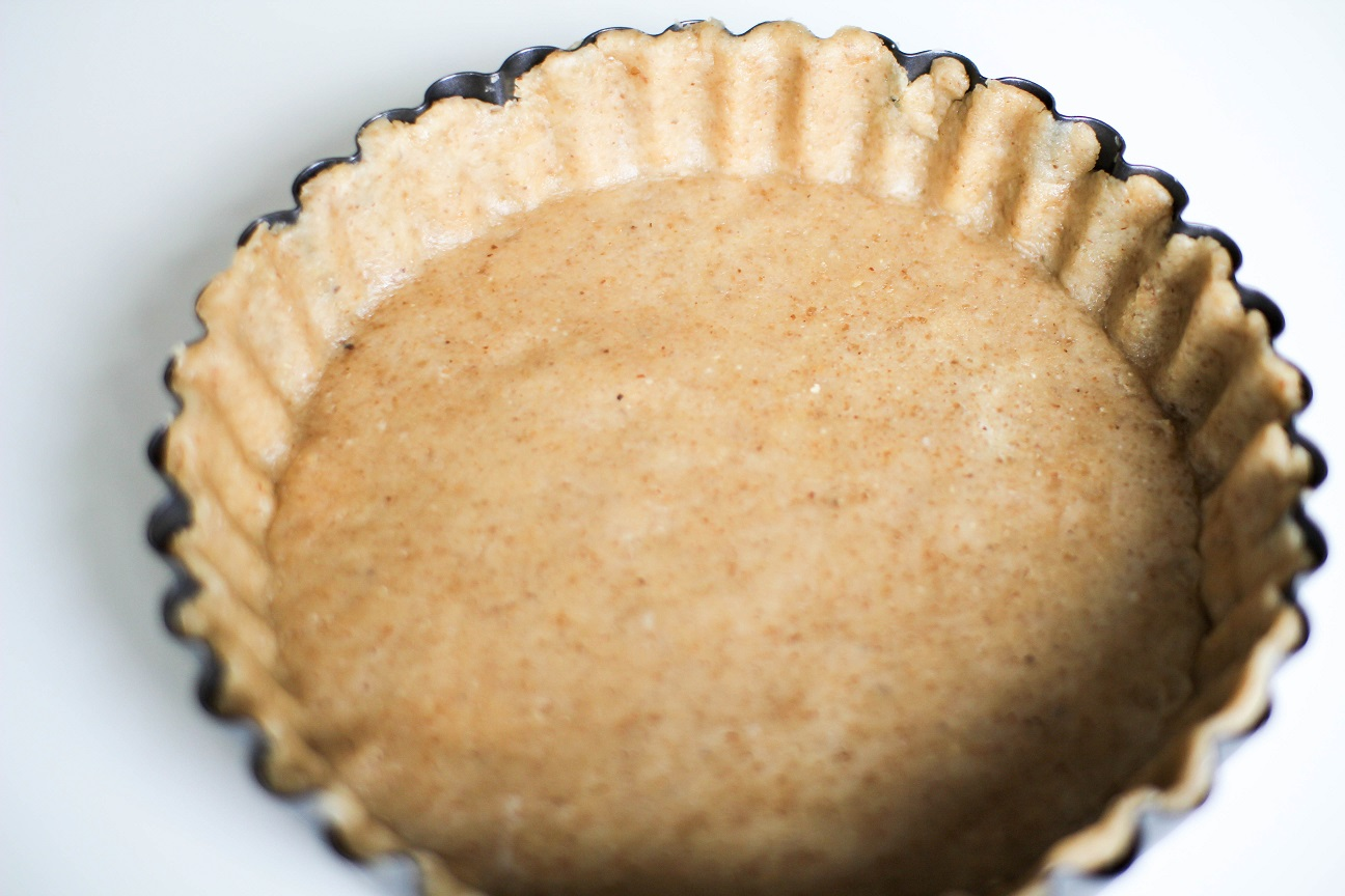 Walnut Vegan Pie Crust in pan- Recipe Righter